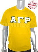 Alpha Gamma Rho Greek Letter T-Shirt, Gold - EMBROIDERED with Lifetime Guarantee