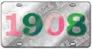Alpha Kappa Alpha License Plate with Kelly Green 1908 on Silver Background