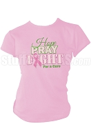 Alpha Kappa Alpha Hope, Pray, Fight Breast Cancer Awareness Screen Printed T-Shirt, Pink