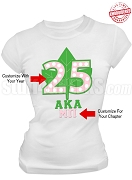 Alpha Kappa Alpha Anniversary T-Shirt, White - EMBROIDERED with Lifetime Guarantee