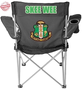 Alpha Kappa Alpha Skee-Wee Crest Lawn Chair, Black - EMBROIDERED WITH LIFETIME GUARANTEE