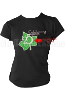 Alpha Kappa Alpha Screen Printed Anniversary T-Shirt with Ivy Icon, Black