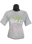 Alpha Kappa Alpha Ivies, Pearls & Pretty Girls Screen Printed T-Shirt, Gray