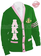Alpha Kappa Alpha Greek Letter Cardigan with Crest and Pink Stripes, Kelly Green (A+)