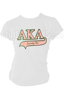 Alpha Kappa Alpha Greek Letter Tail Patch T-Shirt, White (NS)