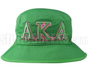 Alpha Kappa Alpha Greek Letters Floppy Bucket Hat with Founding Year, Green (NS)