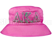Alpha Kappa Alpha Greek Letters Floppy Bucket Hat with Founding Year, Pink (NS)