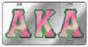 Alpha Kappa Alpha License Plate with Pink Letters with Green Outline on Silver Background (CQ)