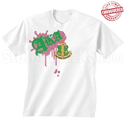 AKA Metallic Vintage T-Shirt, White - EMBROIDERED with Lifetime Guarantee