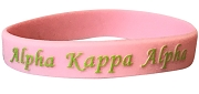 Alpha Kappa Alpha Silicon Wristband with Organization Name, Pink