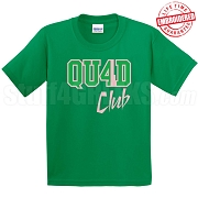 4/Quad Club T-Shirt, Kelly/Pink - EMBROIDERED with Lifetime Guarantee
