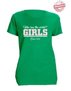 Alpha Kappa Alpha Girls Run The World T-Shirt, Kelly Green - EMBROIDERED with Lifetime Guarantee
