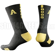 Alpha Phi Alpha Calf Sock with Greek Letters and Founding Year, Black/Gold (NS)