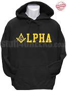 Alpha Phi Alpha/Mason Square and Compass Sweatshirt, Black - EMBROIDERED with Lifetime Guarantee