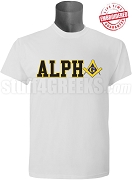 Alpha Phi Alpha/Mason Square and Compass T-Shirt, White - EMBROIDERED with Lifetime Guarantee