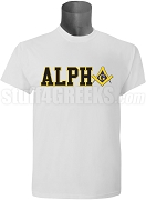 Alpha Phi Alpha/Mason Square and Compass T-Shirt, White