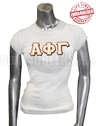 Alpha Phi Gamma T-Shirt with Greek Letters, White - EMBROIDERED with Lifetime Guarantee