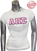 Alpha Pi Sigma T-Shirt with Greek Letters, White - EMBROIDERED with Lifetime Guarantee
