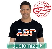 American Flag Greek-Letter T-Shirt - EMBROIDERED with Lifetime Guarantee