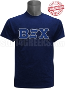 Beta Xi Chi Greek Letter T-Shirt, Navy Blue - EMBROIDERED with Lifetime Guarantee