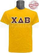 Chi Delta Beta Greek Letter T-Shirt, Gold - EMBROIDERED with Lifetime Guarantee
