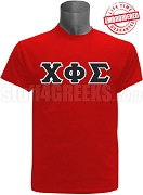 Chi Phi Sigma Greek Letter T-Shirt, Red - EMBROIDERED with Lifetime Guarantee