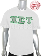 Chi Sigma Tau Greek Letter T-Shirt, White - EMBROIDERED with Lifetime Guarantee