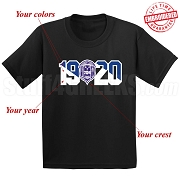 Custom Crest and Founding Year T-Shirt - EMBROIDERED with Lifetime Guarantee