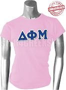 Delta Phi Mu Greek Letter T-Shirt, Pink - EMBROIDERED with Lifetime Guarantee