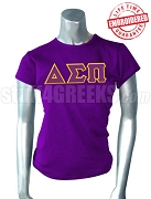 Delta Sigma Pi Ladies' Greek Letter T-Shirt, Purple - EMBROIDERED with Lifetime Guarantee