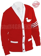 Cardigan with Duck Icon and White Stripes, Red (A+)