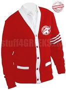 Cardigan with Elephant Logo and White Stripes, Red (A+)