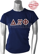 Delta Xi Phi Greek Letter T-Shirt, Navy Blue - EMBROIDERED with Lifetime Guarantee
