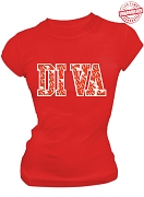 Diva Print T-Shirt, Red - EMBROIDERED with Lifetime Guarantee
