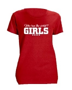 Diva Girls Run The World Screen Printed T-Shirt, Red