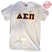 Delta Sigma Pi Letters T-Shirt, White - EMBROIDERED with Lifetime Guarantee