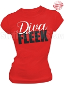 Diva on Fleek T-Shirt, Red EMBROIDERED with Lifetime Guarantee