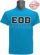 Epsilon Theta Beta Greek Letter T-Shirt, Cyan - EMBROIDERED with Lifetime Guarantee