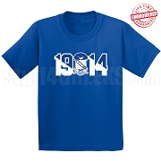 Phi Beta Sigma T-Shirt with Crest and Founding Year, Royal Blue - EMBROIDERED with Lifetime Guarantee