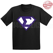 Phi Beta Sigma T-Shirt with Greek Letter Inside Superman Shield, Black - EMBROIDERED with Lifetime Guarantee