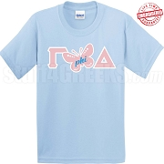 Gamma Butterfly Phi Delta, Light Blue T-Shirt - EMBROIDERED with Lifetime Guarantee