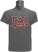 Gamma Delta Iota Screen Printed Greek Letter Tail T-Shirt, Grey