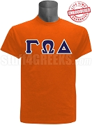Gamma Omega Delta Greek Letter T-Shirt, Orange - EMBROIDERED with Lifetime Guarantee