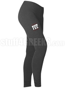 Gamma Sigma Sigma Run DMC Screen Printed Athletic Leggings, Charcoal (BC)