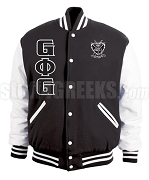 Groove Phi Groove Varsity Letterman Jacket with Crest and Letters, Black/White