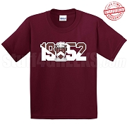 Gamma Sigma Sigma T-Shirt with Crest and Founding Year, Maroon - EMBROIDERED with Lifetime Guarantee