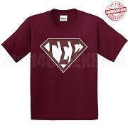 Gamma Sigma Sigma T-Shirt with Greek Letters Inside Superman Shield, Maroon - EMBROIDERED with Lifetime Guarantee