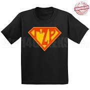 Gamma Zeta Rho T-Shirt with Greek Letters Inside Superman Shield, Black - EMBROIDERED with Lifetime Guarantee