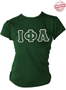 Iota Phi Lambda Greek Letter Screen Printed T-Shirt, Forest Green