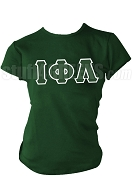 Iota Phi Lambda Greek Letter T-Shirt, Forest Green - EMBROIDERED with Lifetime Guarantee